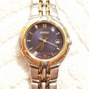 Seiko Silver Gold Tone Watch Roman Numerals